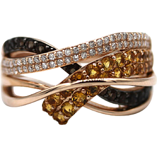 Natural Black, White Diamond and Yellow Sapphire Ring in 14KT Rose Gold