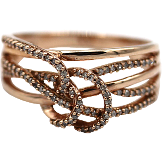 3-D Natural Diamond Ring in 10KT Rose Gold