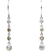 Old Mine Diamond in White, Canary and Champagne Earrings 14KT White Gold Earrings