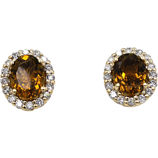3CT Natural Honey Tourmaline with Diamonds Earrings 14KT Gold