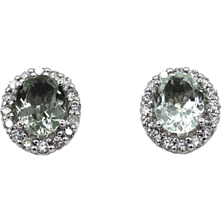 3CT Natural Paraiba Blue Tourmaline with Diamonds Earrings 14KT Gold