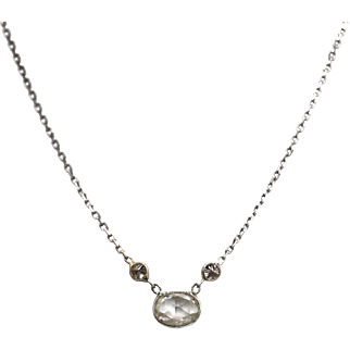 Rose cut Diamond and Champagne Diamond Necklace 14KT White Gold