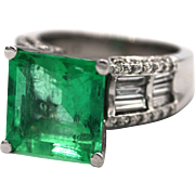 7.38CT Natural Colombian Emerald and Diamond Ring in Platinum