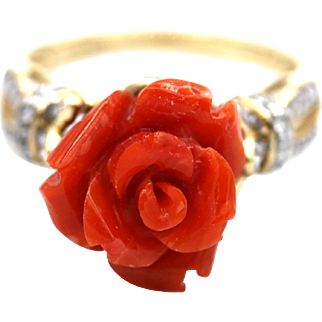 Natural Italian Red Coral Hand Carved Flower Diamond Ring in 14KT Gold