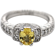 1CT Natural Oval Cut Yellow Sapphire Diamond Engagement Ring or Wedding Band in 14KT Gold
