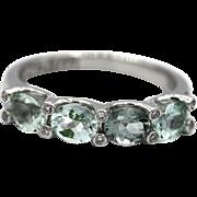Custom Made Paraiba Blue Tourmaline and Diamond Ring in 18KT White Gold