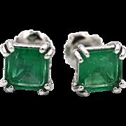 Natural Colombian Emeralds Asscher Cut Stud Earrings 14KT White Gold