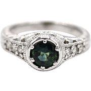Natural Montana Sapphire Diamond Engagement Ring or Wedding Band in 14KT White Gold