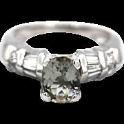 Rare Paraiba Blue Tourmaline and Diamond Ring in Platinum