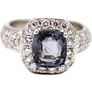 2.5 CT Amazing Natural Periwinkle Blue Spinel and Diamond Ring in Platinum