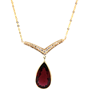8.5CT Rubellite Raspberry Pink Tourmaline and Diamonds Necklace in 14KT Yellow Gold