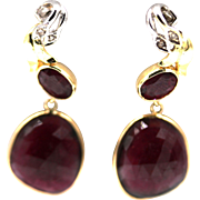 13CT Natural Rubellite Raspberry Pink Tourmaline Rose Cut Earrings 14KT Gold