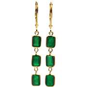 4CT Natural Colombian Emerald Line Earrings 18KT Gold