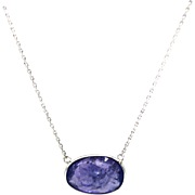 7.5 CT Natural Rose Cut Tanzanite Necklace in 14KT White Gold