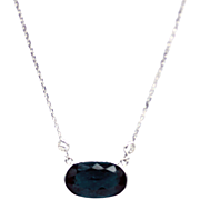 Paraiba Teal Blue Tourmaline Diamond Necklace in 14KT White Gold