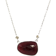 Rubellite Pink Tourmaline Diamond Necklace in 14KT Yellow Gold