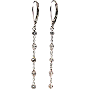 1.5CT Kite and Round Diamond Earrings 14KT White Gold Earrings