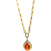 2CT Natural Mexican Fire Opal Diamond Necklace 14KT Gold