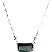 Natural Paraiba Blue Tourmaline and Diamond Necklace in 14KT White Gold