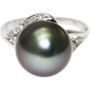 14KT White Gold 11.5 mm Natural Tahitian Pearl Diamond Ring