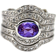 Stacking Natural Tanzanite and Diamond Ring in 18KT White gold
