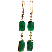 12CT Natural Rose cut Colombian Emerald with Canary and White Diamonds Earrings 14KT Gold