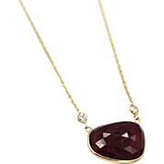 Rose Cut Rubellite Pink Tourmaline Diamond Necklace in 14KT Yellow Gold