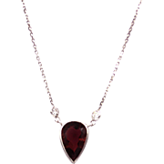 3.5CT Rubellite Pink Tourmaline and Diamonds Necklace in 14KT White Gold