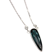 Paraiba Blue Tourmaline and Diamond Necklace in 14KT White Gold