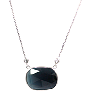 Rose Cut Paraiba Blue Tourmaline and Diamond Necklace in 14KT White Gold
