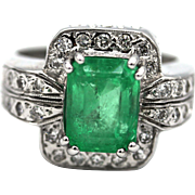 Natural Colombian Emerald and Diamond 14KT White Gold Ring