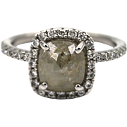 Natural Rose Cut Diamond Engagement Ring in 14KT White Gold