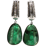 30CT Natural Rose cut Colombian Emerald with 2CT Diamonds Earrings 14KT Gold