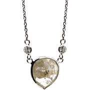 4CT Rose Cut Fancy Diamond Necklace 14KT White Gold