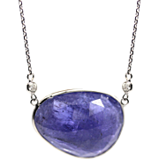 32 CT Natural Rose Cut Tanzanite and Diamond Necklace in 14KT White Gold