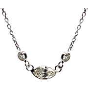 1CT Oval Cut Diamond Necklace 14KT White Gold