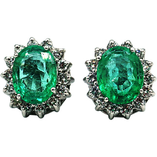7CT Natural Colombian Emerald with Diamonds Earrings 14KT Gold