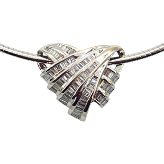 Modern Love Knot Diamond Omega Choker Necklace 14KT White Gold