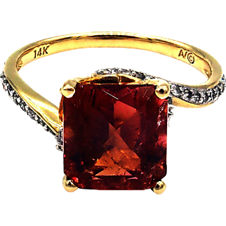 Natural Padparadscha Tourmaline, Yellow Sapphire and Diamond Ring in 14 KT Yellow Gold