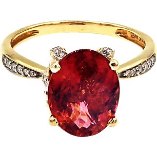 Natural Padparadscha Tourmaline and Diamond Ring in 14 KT Yellow Gold