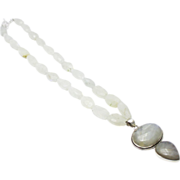 Natural Over 400CT Rainbow Moonstone Handmade Sterling Silver Necklace