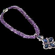 Natural Amethyst, Kyanite & Iolite Handmade Sterling Silver Necklace