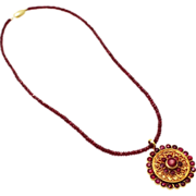 Natural Ruby Handmade Good Luck and Long Life 18 KT Gold Necklace