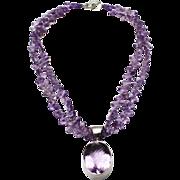 300 CT Natural Rose De France Pink Amethyst Handmade Sterling Silver Necklace