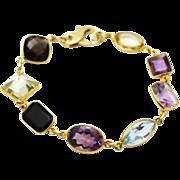 60CT Natural Mutli-Color Gemstones, Citrine, Amethyst, Garnet, Blue Topaz and Smoky Quartz Handmade 18KT plated over Sterling Silver Bracelet