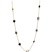 125CT Natural Mutli-Color Gemstones, Citrine, Amethyst, Garnet, Blue Topaz and Smoky Quartz Handmade 18KT plated over Sterling Silver Necklace