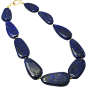 Stunning Natural Electric Blue Lapis Slice Necklace