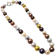 Amazing Multi-Color Cultured Freshwater Pearl CZ Platinum over Silver Necklace