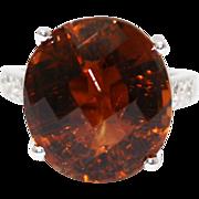 Rare 19 CT Natural Honey Tourmaline and Diamond Ring in 14KT White Gold