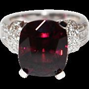 Natural Rubellite Raspberry Pink Tourmaline and Diamond Ring in Platinum